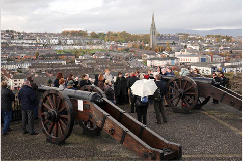 Tour of the walls of Derry City - one of the Derry walking tours from McNamara Tours, Northern Ireland